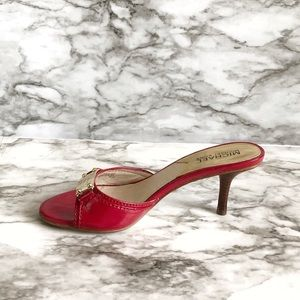 Michael Kors Red Patent Leather Open Toe Heel
